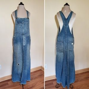 Rugby Vintage Distressed Overall Jean Maxi Dress